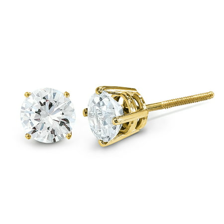 14K Yellow Gold Diamond Round Screw Back Stud Earrings (0.30 CTW, G-I Color, VS2-SI1