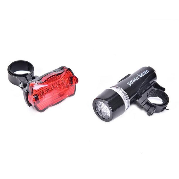 5 LED Lamp Bike Bicycle Front Head Light Rear Safety Flashlight Set Waterproof