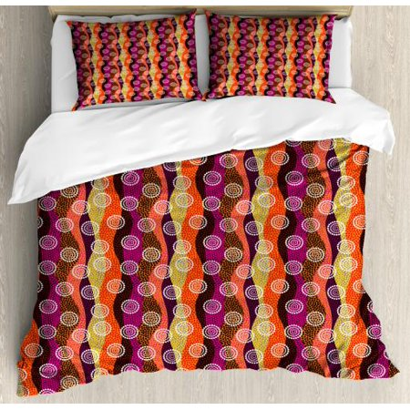 Abstract Queen Size Duvet Cover Set, East Asian Style Colorful Design with Multiple Dotted Wavy Stripes and Circles, Decorative 3 Piece Bedding Set with 2 Pillow Shams, Multicolor, by Ambesonne