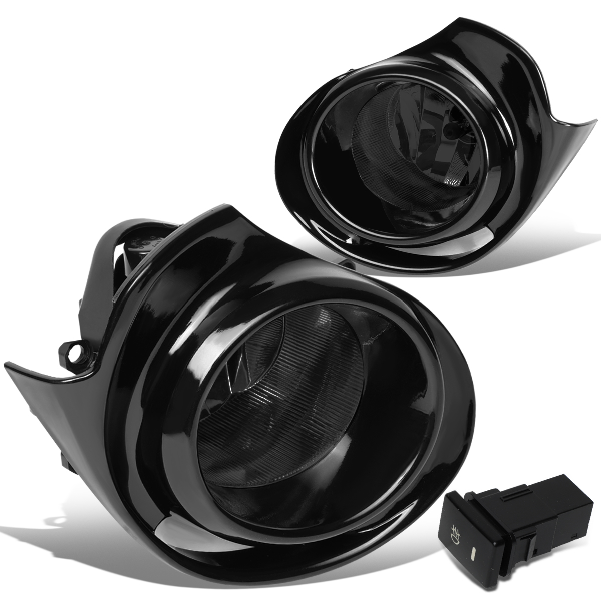 For 15-18 Toyota Prius C Pair Front Bumper Fog Light/Lamp+Switch+Bezel Smoked Lens 16 17
