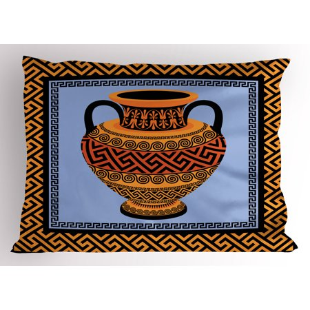 Greek Key Pillow Sham Frame with Traditional Vintage Square Ornament Meander and Amphora, Decorative Standard Size Printed Pillowcase, 26 X 20 Inches, Orange Lavender Black, by Ambesonne