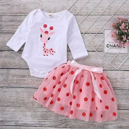 2PCS Newborn Baby Girl Giraffe Long Sleeve Cotton Romper Bodysuit Top + Tulle Tutu Skirt Clothes Outfits -