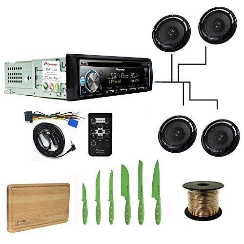 Pioneer DEH-X3800UI CD Receiver Bundle with 4 KFC-1665S Speakers, SW1850 Wire 50 ft. and Free Ginsu Nuri Cutlery Set
