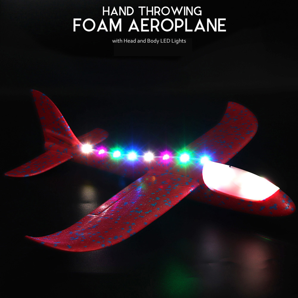 Hand Throwing Foam Airplane Aeroplane Glider with Head and Body LED Lights C1Q3
