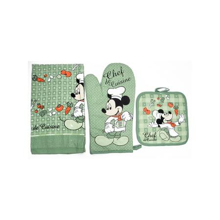 Chef Mickey Mouse, 3 Pack, Kitchen Set Oven Mitt Pot Holder Dish Towel, Green Kitchen Towels Mitt
