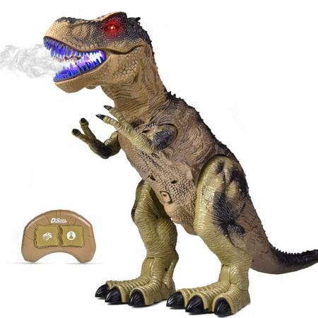 Remote Control Dinosaur for Kids, Electronic Walking & Spray Mist Large Dinosaur Toys with Glowing Eyes, Roaring Dinosaur Sound,18.5