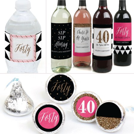 Chic 40th Birthday - Birthday Party Decorations & Favors Kit - Wine, Water and Candy Labels Trio Sticker Set