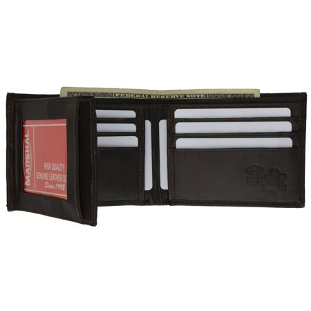 Bifold Cowhide Leather Wallet Outside Flap ID Card Holder 92 CF (C) (Cowhide Flap)
