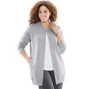 Woman Within Women's Plus Size Fleece Baseball Jacket Fleece