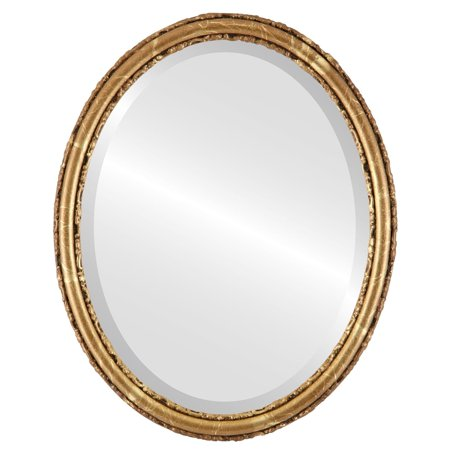 The Oval and Round Mirror Store Virginia Framed Oval Mirror in Champagne Gold - Antique Gold - Halloween Stores In Virginia
