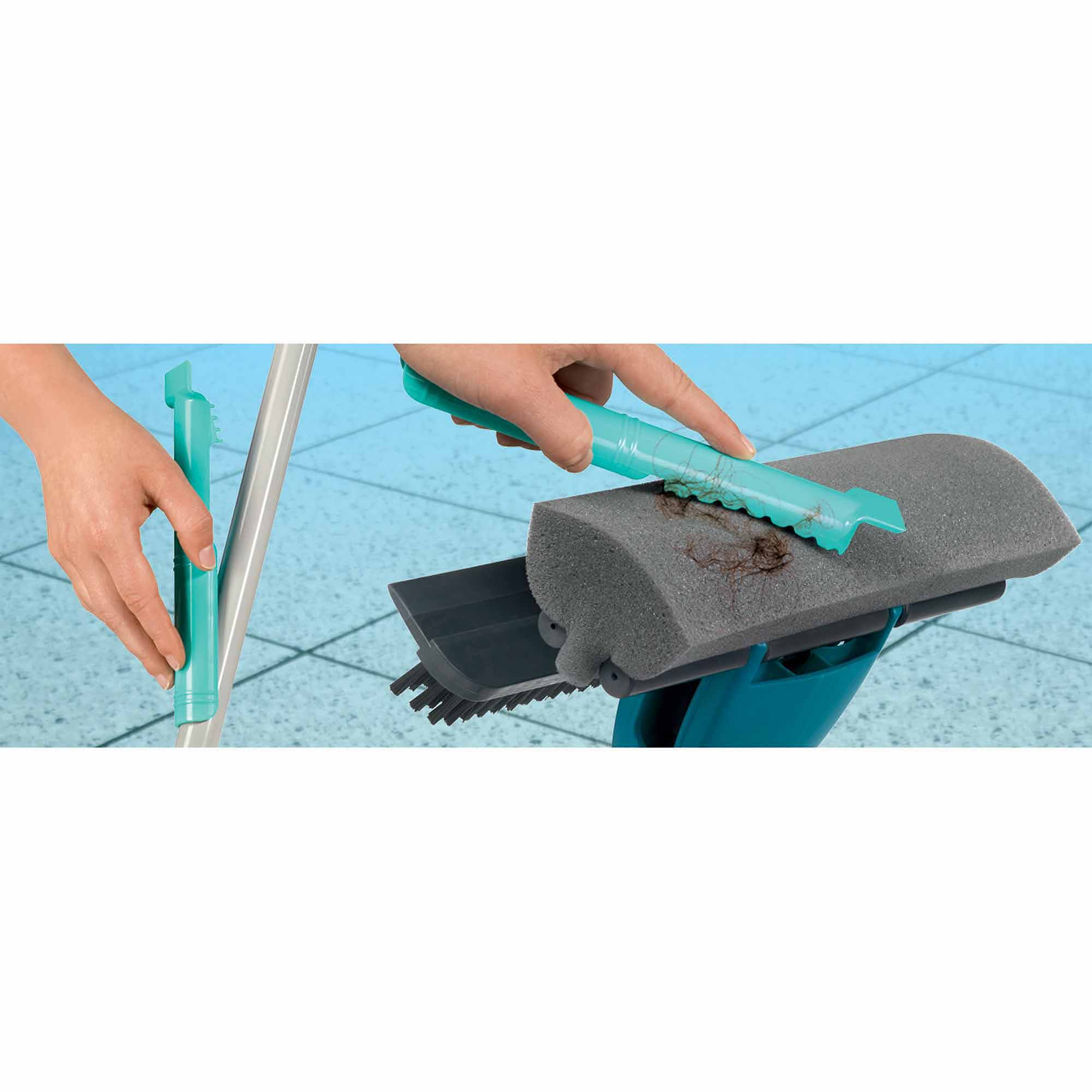 Leifheit 3-in-1 Indoor/Outdoor Floor Scrubber with Rubber Brush, Sponge Mop and Squeegee, Turquoise and Black
