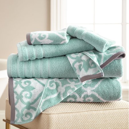 Image of 6 pc Yarn Dyed towel Lattice Rod Aqua