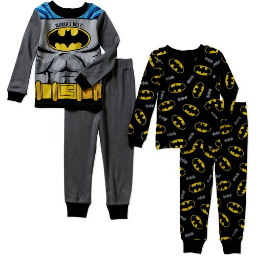 Batman Toddler Boy Cotton Tight Fit Pajamas 4pc Set