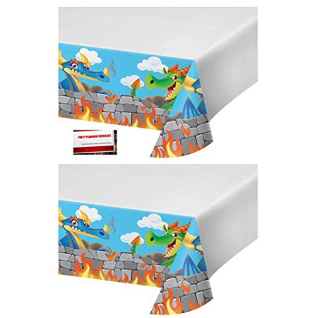 (2 Pack) Dragon Dragons Castle Knight Plastic Table Cover 54 X 102 Inches (Plus Party Planning Checklist by Mikes Super Store) - Knight Party