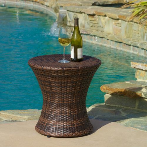 Angela Wicker Outdoor Brown Accent Table by GDF Studio