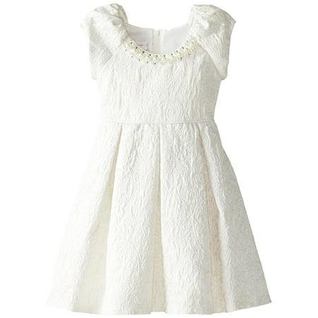 Brocade Pearl - Little Girls 2T-4T Ivory Metallic Brocade Pearl Neckline Fit Flare Dress [BNJ05352]