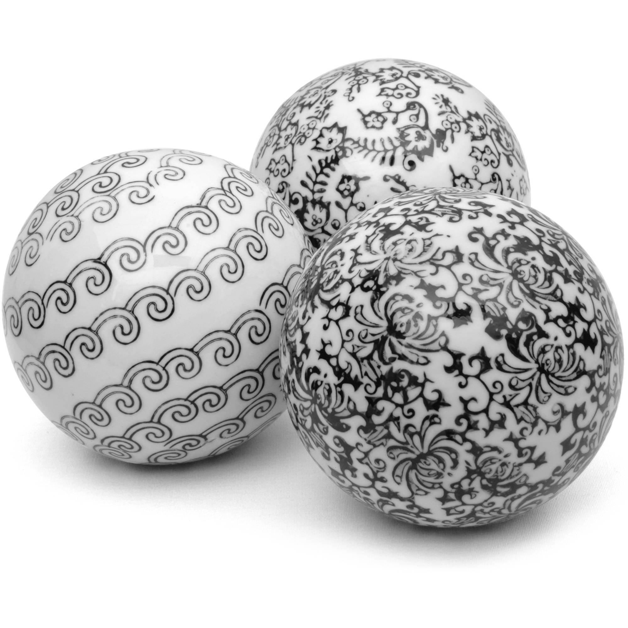 "4"" Black & White Decorative Porcelain Ball Set, B by Oriental Furniture"