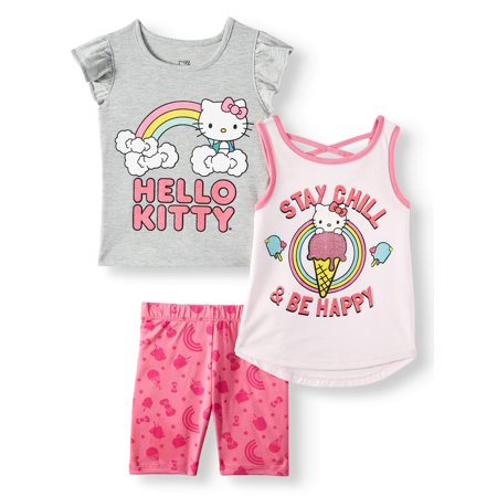 Hello Kitty Toddler Girls' Ice Cream Tops and Shorts, 3-Piece Outfit Set
