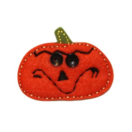 ID 0794A Felt Pumpkin With Buttons Patch Jack Lantern Halloween Iron On Applique - Iron On Halloween Appliques