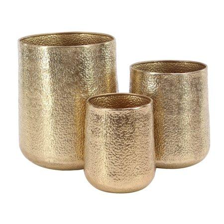 Decmode Set of 3 Modern Round Gold Aluminum Planters, Gold