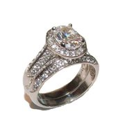 Women's 2 Piece Halo Cz Wedding Band Ring Set Solid Stainless Steel