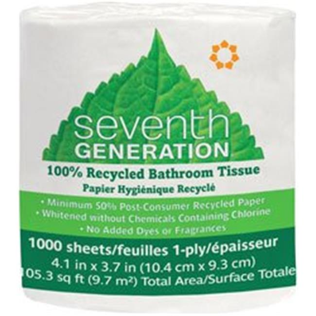 Seventh Generation 1102920 1 Ply 1000 Sheet Roll Bathroom Tissue, Case of 60