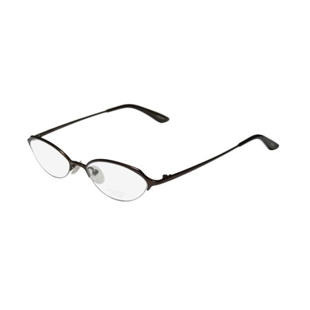 New Oliver Peoples Dulcette Womens/Ladies Designer Half-Rim Titanium Shiny Brown Half-rim Hip Titanium Frame Demo Lenses 48-17-133 Eyeglasses/Eye