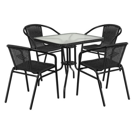 Flash Furniture 28 Square Glass Metal Table With Rattan