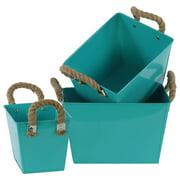 3-Pc Zinc Rectangular Bucket Set