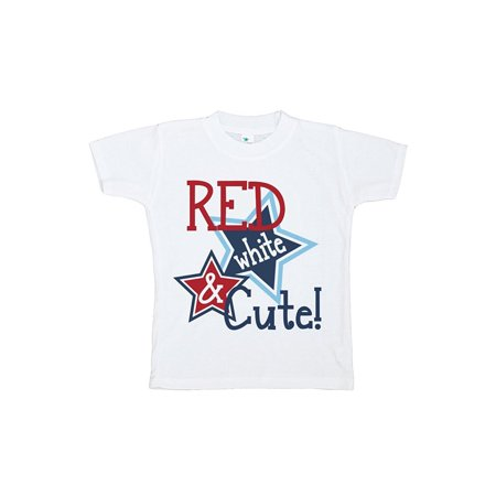 Custom Party Shop Girls' Red White and Cute 4th of July T-shirt - 2T