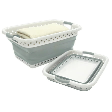 Homz Collapsible Plastic Rectangle Laundry Basket, White and Grey, Set of 1 ()