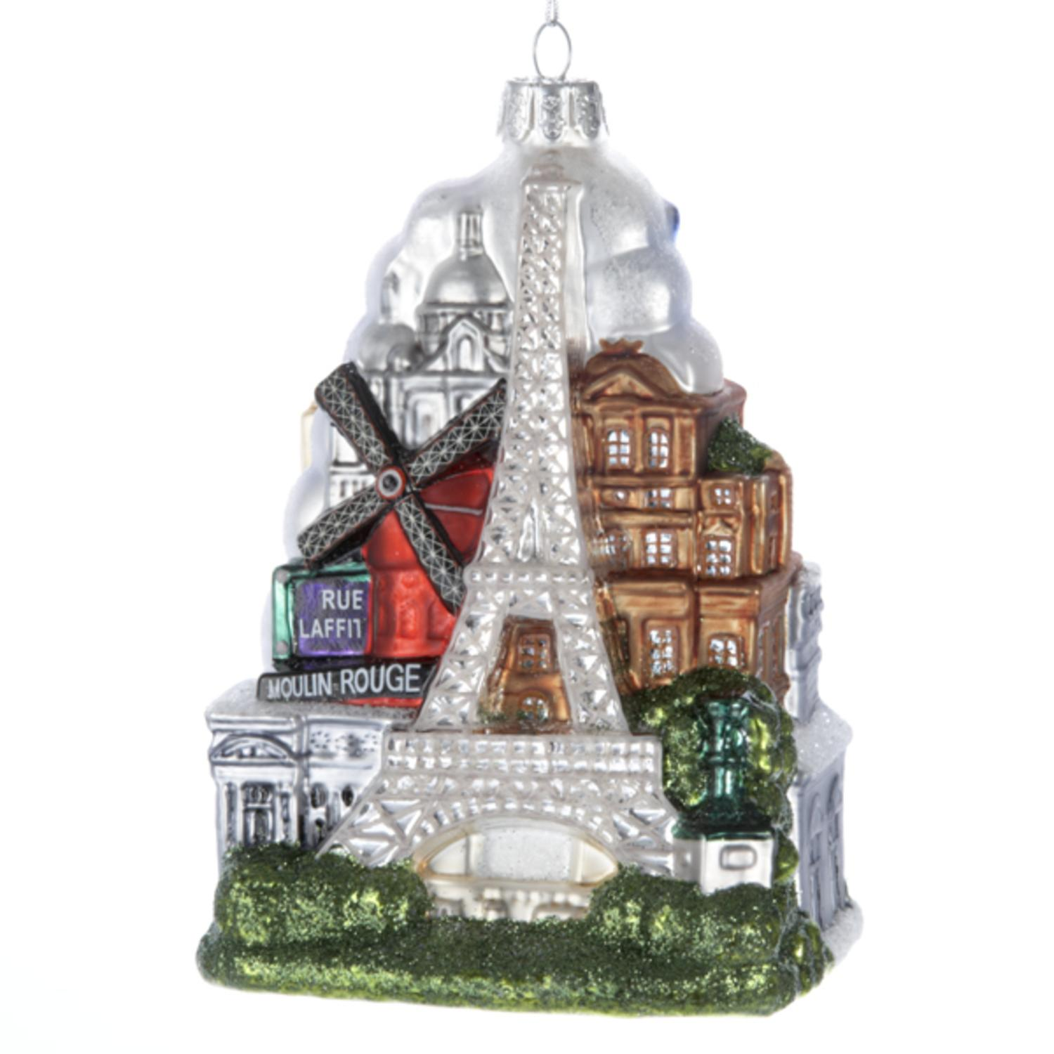 Pack of 6 Paris France Glass Christmas Ornaments 5""