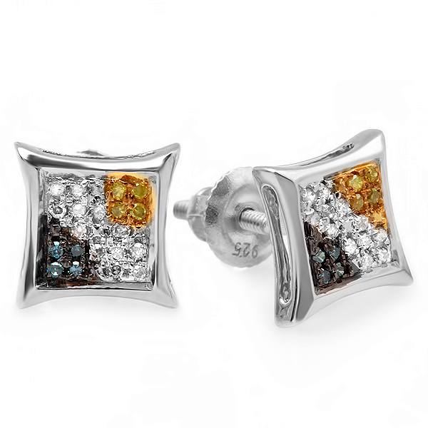 0.10 Carat (ctw) Blue, White & Yellow Round Diamond Micro Pave Setting Kite Shape Stud Earrings 1/10 CT