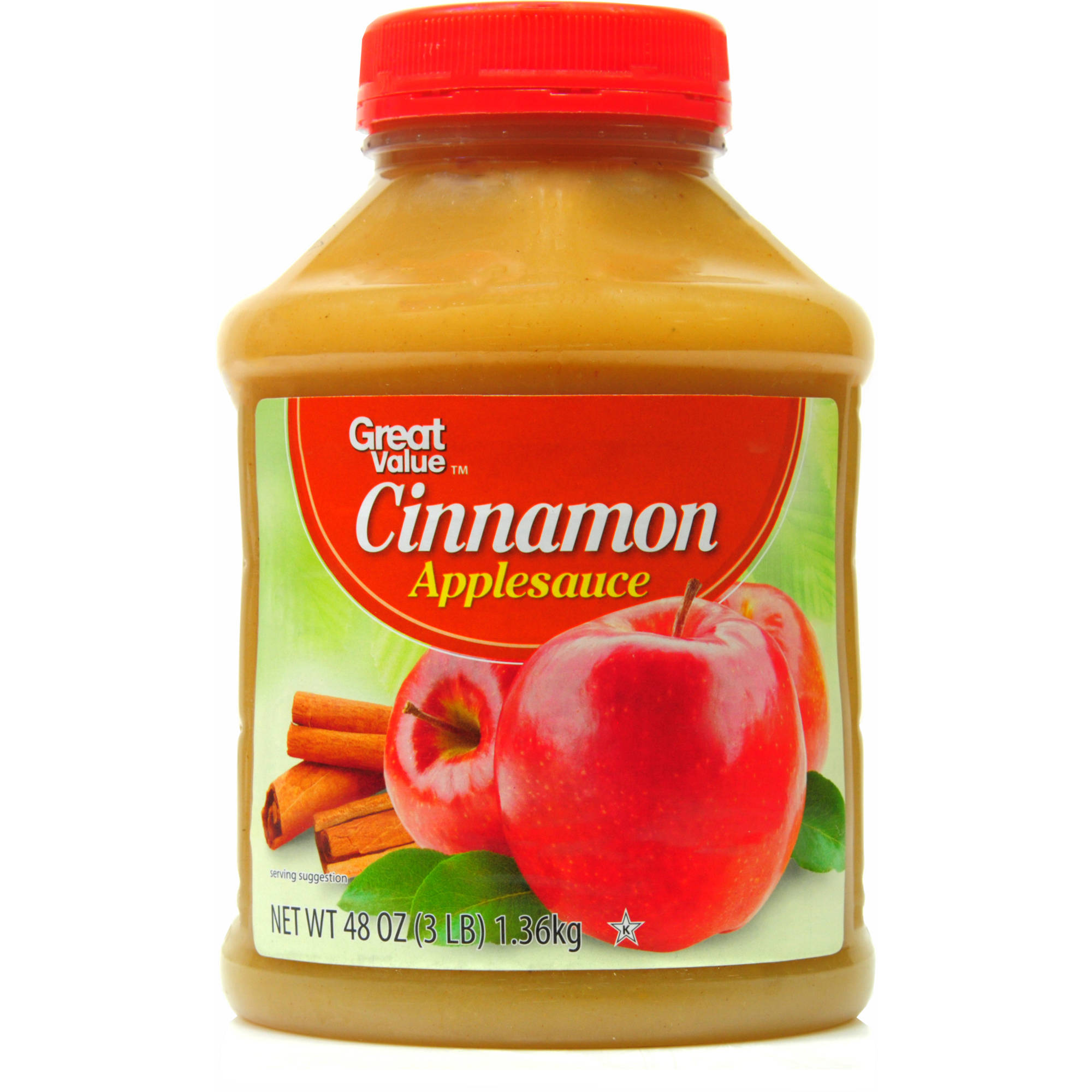 Great Value Cinnamon Applesauce, 48 oz