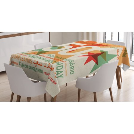 50th Birthday Decorations Tablecloth, Happy Birthday in All Languages Retro Backdrop with Stars, Rectangular Table Cover for Dining Room Kitchen, 52 X 70 Inches, Green Red Orange, by - Retro Happy Birthday