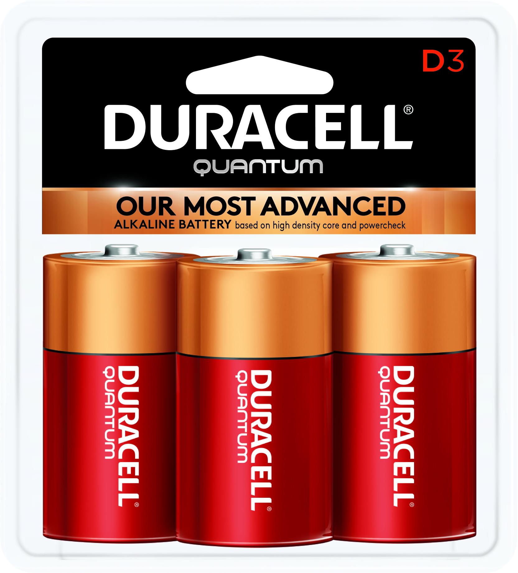 Duracell Quantum Alkaline D Batteries, 3 Count