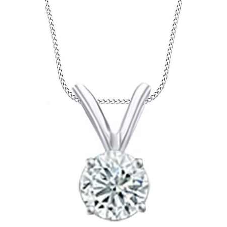Round Cut White Natural Diamond Solitaire Pendant Necklace In 14k White Gold