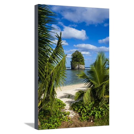 Coconut Point - Single Rock at Coconut Point on Tutuila Island, American Samoa, South Pacific, Pacific Stretched Canvas Print Wall Art By Michael Runkel