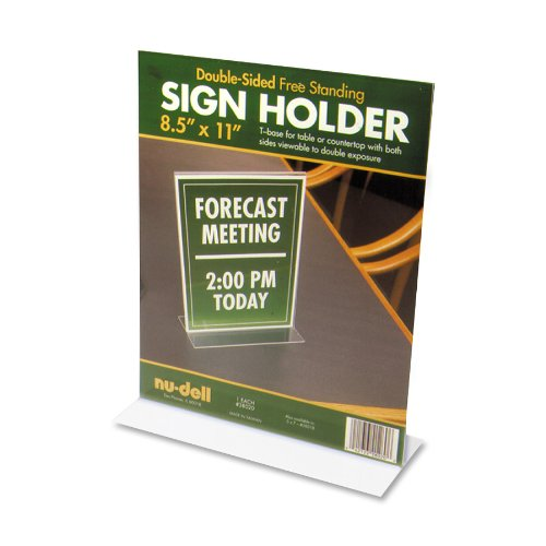 """Nu-dell Acrylic Standing Sign Holder - 8.50"""" X 11"""" Insert - Acrylic - Clear (NUD38020)"""