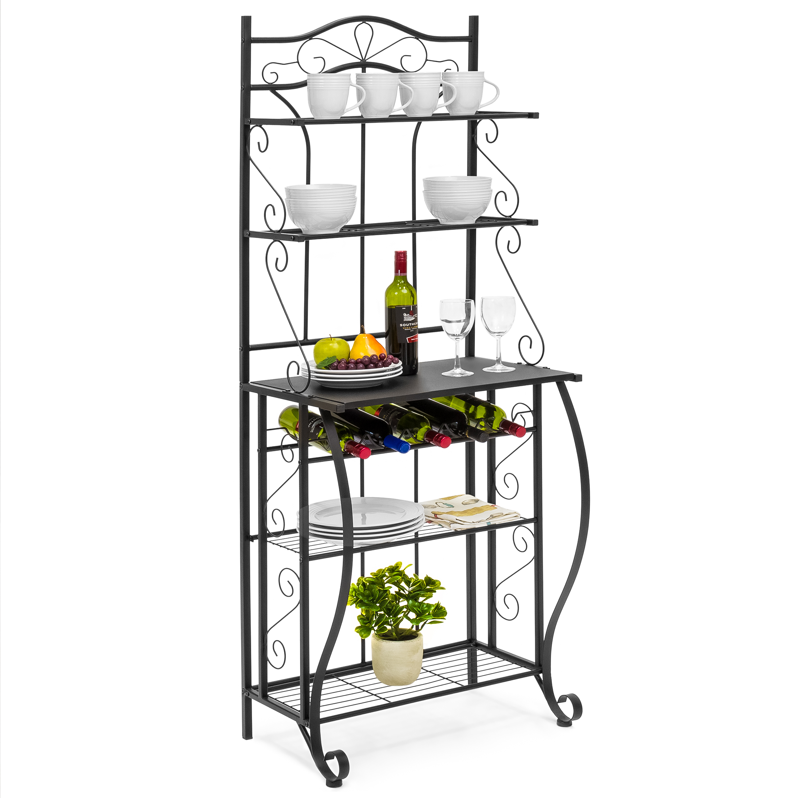 Best Choice Products 5 Tier Black Metal Kitchen Bakers Rack (Cappuccino)