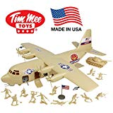 TimMee Plastic Army Men C130 Playset Tan 27pc Giant Military Airplane USA Made by