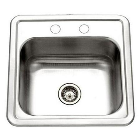 Hospitality Series Topmount Stainless Steel 2-Holes Bar & Prep Sink, Stainless Steel