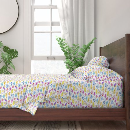 Dog Rainbow Watercolor French Bulldog 100% Cotton Sateen Sheet Set by Roostery ()