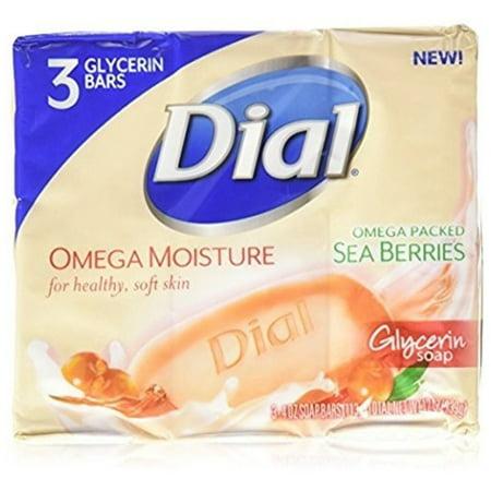 2 Pack - Dial Omega Moisture Glycerin Bar Soap, Sea Berries, 4 oz Bars, 3 ea