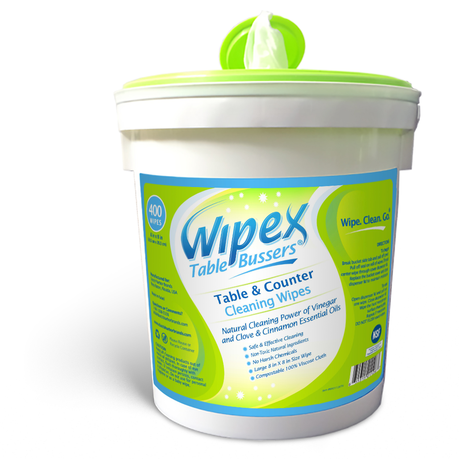 Wipex Table Bussers - Natural Table & Counter Cleaning Wipes with Vinegar, Propolis, Clove and Cinnamon Oil, 400 Count