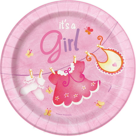 Clothesline Baby Shower Plates, 7 in, Pink, - Baby Shower Plates