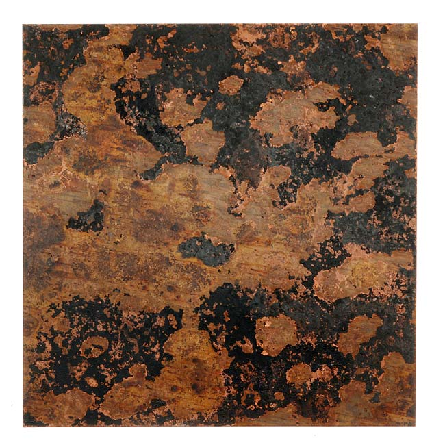 Lillypilly Copper Sheet Metal Square Mottled Patina 24 Gauge - 3x3 Inch