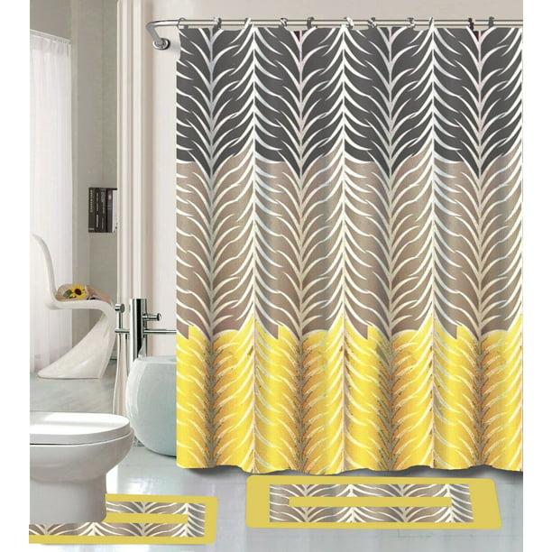 Sonia Yellow Gray Multi Tone 15 Piece Bathroom Accessory Set 2 Bath Mats Shower Curtain 12 Fabric Covered Rings Walmart Com Walmart Com