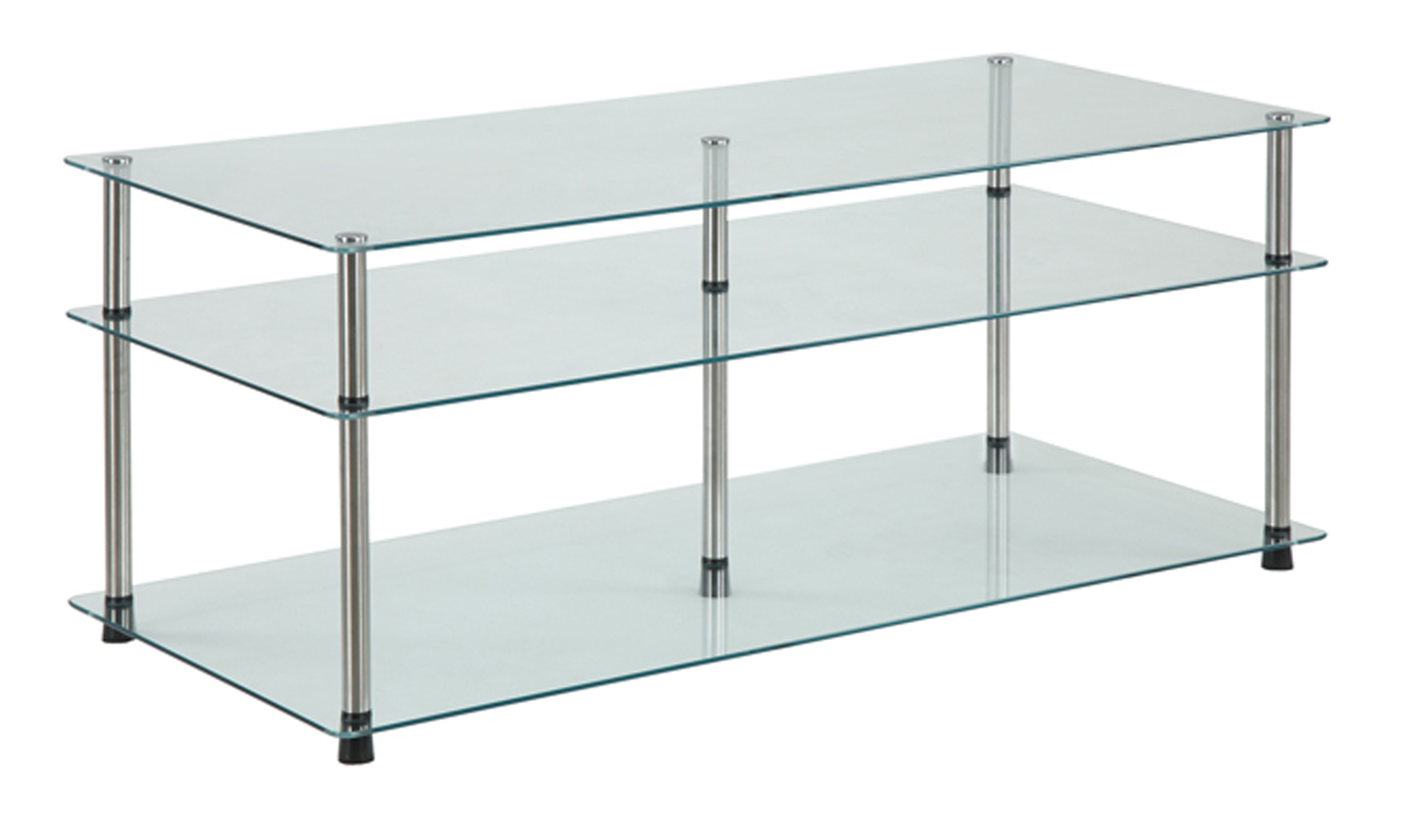 Convenience Concepts Designs2Go No Tools 3 Tier Coffee Table, Glass by Convenience Concepts Inc