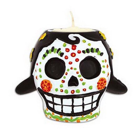 6 Oz Day of The Dead Female Candle Holder And Tealight Halloween Decoration (Halloween Ghost Candle Holder)